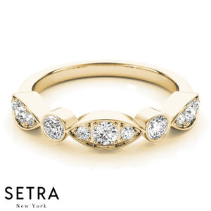14K YELLOW GOLD WITH ILLUSION OF MARQUISE & ROUND SETTING DIAMOND BAND