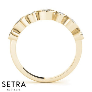 14K YELLOW GOLD WITH ILLUSION MARQUISE & ROUND SETTING DIAMOND BAND