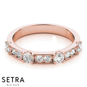 18K FINE ROSE GOLD DIAMOND WEDDING BAND