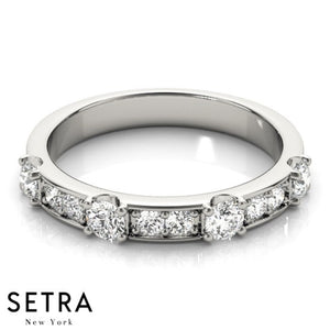 ROUND DIAMOND PRONG & CHANNEL SET WEDDING BAND