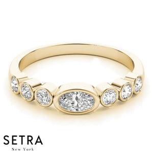 STUNNING NEW OVAL & ROUND CUT DIAMOND ENGAGEMENT 14K GOLD RING