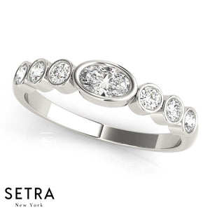 Seven Stone Round & Oval Cut Diamond Bezel Setting Band Ring 14kt Gold
