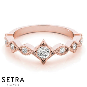 14K FINE ROSE GOLD STACKABLE DIAMOND RING
