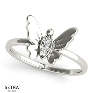 Micro-Pave Setting Open Butterfly Wings 14kt Gold Ring