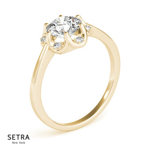 Classic For Center Round Cut Diamond Engagement 14kt Gold Ring