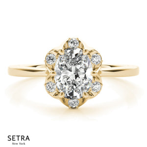 Classic For Center Oval Cut Diamond Engagement 14kt Gold Ring