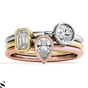 Solitaire Round Pear or Emerald Cut  Diamonds  Engagement Pic Your Choice  14KT Gold Ring