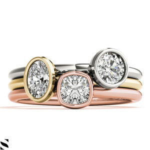 Solitaire Cushion Oval or Round Cut Diamonds pic Your Choice Engagement 14kt Gold Ring
