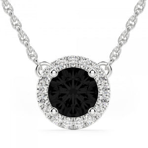 PICK YOUR CENTE GEME STONE COLOR HELO DIAMOND & SAPPHIRE NECKLACE 14K GOLD