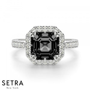 Asscher Cut Black Diamond & Round Diamond Halo Engagement Fine Double Eagle-Prong Setting 14K Gold Ring 14K Gold Ring