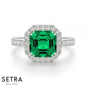 Asscher Cut Emerald & Round Diamond Halo Engagement Fine Double Eagle-Prong Setting 14K Gold Ring