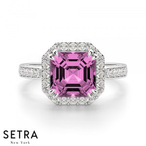 Asscher Cut Pink Sapphire & Round Diamond Halo Engagement Fine Double Eagle-Prong Setting 14K Gold Ring 14K Gold Ring
