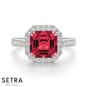 Asscher Cut Ruby & Round Diamond Halo Engagement Fine Double Eagle-Prong Setting 14K Gold Ring 14K Gold Ring