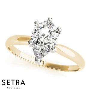 14kt Pear Shape Cut Diamond solitaire Engagement Ring