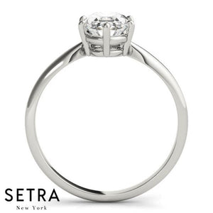 14kt Oval Cut Diamond solitaire Engagement Ring