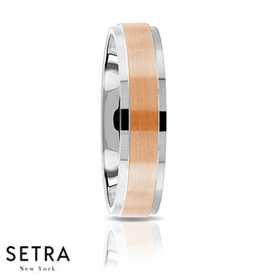 Fancy Middle Elevated Designer For Him & Hers Solid Wedding Band 14K Gold