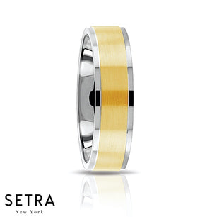 Fancy Middle Elevated Shank Designer For Him & Hers Solid Diamond Wedding Band 14K Gold