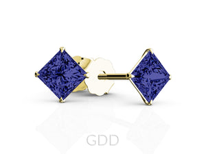 FINE 18K ROSE GOLD PRINCESS CUT SAPPHIRE STUD EARRINGS EAGLE PRONG SETTING