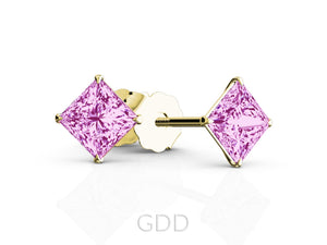 FINE 18K ROSE GOLD PRINCESS CUT PINK SAPPHIRE STUD EARRINGS EAGLE PRONG SETTING