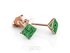 EARRINGS FINE 18K ROSE GOLD PRINCESS CUT GREEN EMERALD STUD EARRINGS EAGLE PRONG SETTING