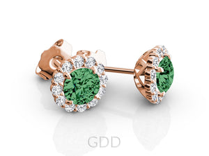 HALO STUD EARRINGS CENTER OF MY LIFE DIAMONDS & CENTER GREEN EMERALD GEM STONE 14K YELLOW GOLD