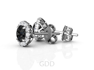 HALO STUD EARRINGS CENTER OF MY LIFE BLACK & WHITE DIAMONDS 14K ROSE GOLD