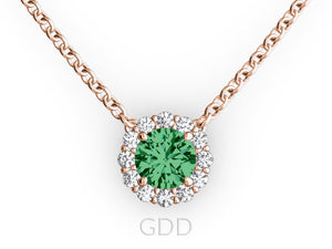 Vintage 18K Gold Round Cut Diamonds & Green Emerald In Halo Necklace