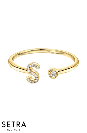 14kt FINE GOLD DIAMOND BEZAL INITIAL OPEN CUFF RING