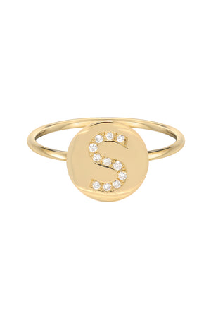 14kt FINE GOLD DIAMOND INITIAL DISC RING