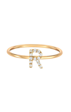 Diamond Initial Ring 14k Gold