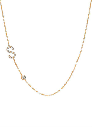 Diamond asymmetrical initial and bezel necklace