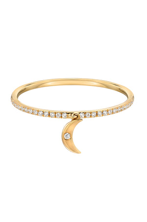 14kt Fine Gold Diamond Crescent Pendant Ring