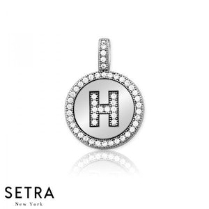 "INITIAL MICRO-PAVE FINE 14K GOLD CIRCLE DISC ""H"" DIAMONDS  NECKLACE"