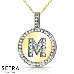"INITIAL MICRO-PAVE FINE 18K GOLD CIRCLE DISC ""M"" DIAMONDS NECKLACE"