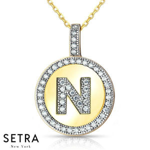 "INITIAL MICRO-PAVE FINE 18K GOLD CIRCLE DISC ""N"" DIAMONDS NECKLACE"