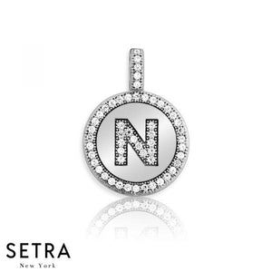 "INITIAL MICRO-PAVE FINE 14K GOLD CIRCLE DISC ""N"" DIAMONDS NECKLACE"