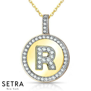 "INITIAL MICRO-PAVE FINE 14K GOLD CIRCLE DISC "" R "" DIAMONDS NECKLACE"