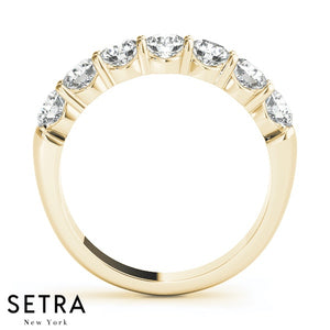 7 Round Cut Diamonds Wedding Band Shared-Prong-Setting Ring 14kt Gold