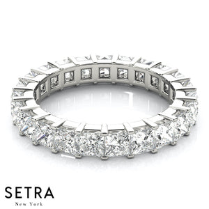Shared Prong Setting Eternity Princess Cut Diamond Band 14kt Gold Ring