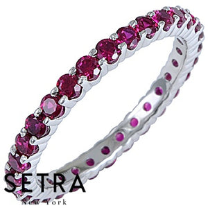 18K FINE GOLD ROUND CUT RUBY PRONG SET ETERNITY WEDDING BAND RINGS
