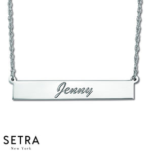 NAME PLATE BAR NECKLACE 14K GOLD