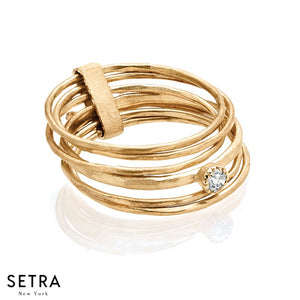 14K FINE YELLOW GOLD STACK RINGS WITH A SINGLE DIAMOND