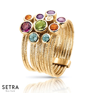 14K FINE YELLOW GOLD MIX COLOR GEM STONES RIGHT HAND RING DESIGNER