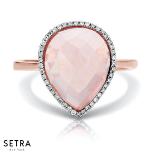 14K FINE ROSE GOLD DIAMOND & PINK QUARTZ DESIGNER STYLE RIGHT HAND RING