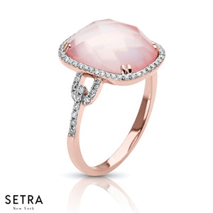 14K FINE ROSE GOLD OVAL DESIGNER PINK QUARTZ & DIAMOND RIGHT HAND HELLO RING