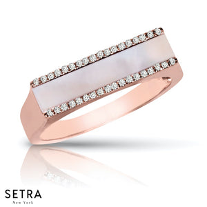 14K FINE ROSE GOLD DESIGNER PEARL & DIAMONDS RIGHT HAND RING