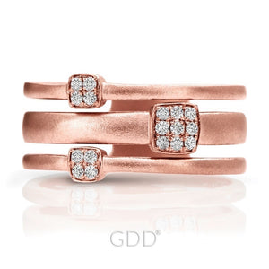 14K FINE ROSE GOLD DIAMOND DESIGNER BAR STYLE RIGHT HAND RING