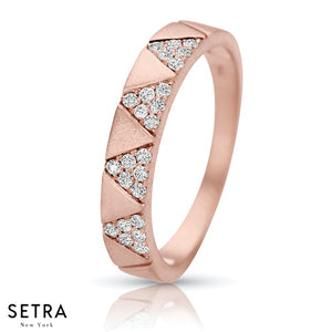 14K FINE ROSE GOLD DIAMOND DESIGNER PARAMAID BAR STYLE RIGHT HAND RING
