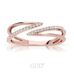 14K FINE ROSE GOLD DIAMOND ZIG-ZAG DESIGNER BAR STYLE RIGHT HAND RING