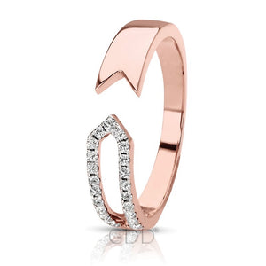 14K FINE ROSE GOLD DIAMOND DESIGNER MALE & FEMALE BAR STYLE RIGHT HAND RING